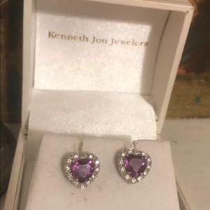 14k white gold, diamond and amethyst earrings